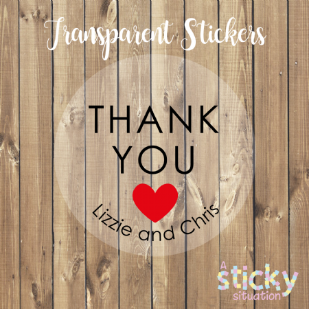 Personalised Transparent 'Thank you' Stickers - Red Heart Design